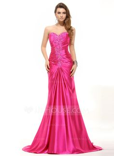 Trumpet/Mermaid Sweetheart Sweep Train Charmeuse Evening Dress With Ruffle Beading Sequins (017016055)