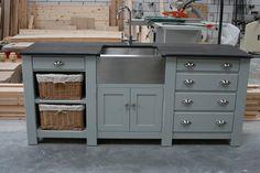 Freestanding Kitchen Sink Cupboard | Etsy Kitchen Sink Units, Kitchen Sink Diy, Kitchen Ikea, Home Decor Kitchen, Kitchen Furniture, Home Kitchens, Belfast Sink Kitchen Unit, Kitchen Basin, Kitchens