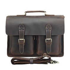 Polare Mens Genuine Leather 15.6'' Removeable Laptop Compartment Briefcase Messenger Bag Satchel