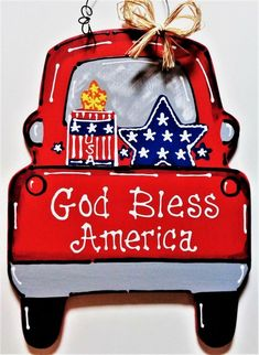 AMERICANA Vintage Style RED TRUCK 4th of July SIGN Wall Art Door Hanger Plaque #DESIGNEDHANDCRAFTEDBYMILLERFAMILYWOODCRAFTS #Country Patriotic Crafts, July Crafts, Holiday Crafts, Patriotic Images, Country Wood Crafts, Wooden Crafts, Truck Crafts, Red Truck Decor, Wooden Door Hangers