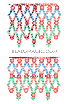 Free pattern for beaded necklace Russo - 2.---- U need 3 colors seed beads 11/0 and pearl beads 3 or 4 mm