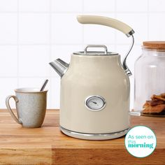 This Dunelm litre capacity Jug Kettle brings a unique design with a modern cream colour which will look great in all kitchens Retro Kitchen Appliances, Kitchen Worktop, Small Appliances, Kitchen Gadgets, Retro 1, Retro Vintage, Vintage Dorm, Kettle And Toaster, Kitchen