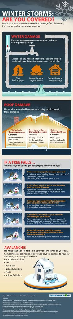 Winter storm and blizzard infographic on homeowners insurance coverage Insuran buying tips,how to buy insurance,financial planning