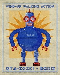 SALE 25% OFF Boris Robot Box Art Print 8 in x 10 in       I love this Blue Fellow  $20.00