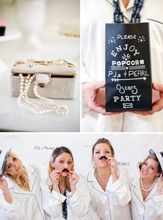 Chic Pajamas & Pearls Oscar Party with a popcorn bar,adorable cupcakes, jewelry and silky vs pajamas, citrus appetizers, DIY gold leaf cups & cool swag bags!