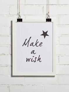 Plakat - Make a wish 30x40 cm (+inne rozmiary) - BonzooBox - Plakaty typograficzne