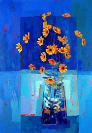 Flowers in a vase - background shades of blue