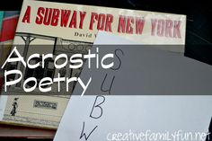 Subway Acrostic Poetry ~ Creative Family Fun ~ An easy writing project to turn your kids into poets
