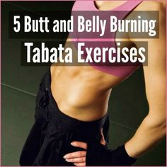 """A fit woman in a pink sports bra with her hands on her hips with the words""""5 butt and belly burning tabata exercises"""""""