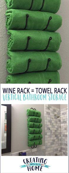 Wine Rack as Towel Rack: Vertical Bathroom Storage Wine Rack as Towel Rack: Vertical Bathroom Storage – creatingmaryshome… Bathroom Towel Storage, Bathroom Towels, Bathroom Faucets, Gold Bathroom, Bathroom Organization, Bath Towel Racks, Purple Bathrooms, Small Bathrooms, Organization Ideas