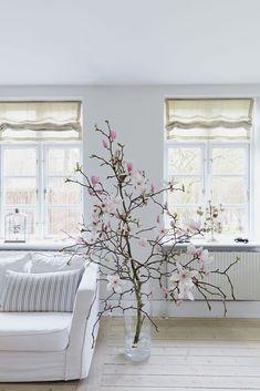 Store magnoliagrene i glaskrukker er smukke og rustikke. Blomsternes sarte lyserøde farve går fint i spænd med pastelfarve trenden.