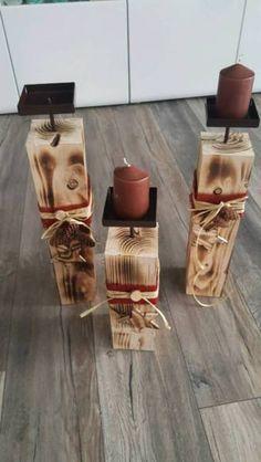 Kerzenständer 3 Stück (Kerzen nicht enthalten)<br />Kantholzdurchmesser 9×9cm, Höhe 50 cm , 46 cm...,Kerzenständer Holz Rustikal Landhausstiel Vintage Weinnachtsdeko in Nordrhein-Westfalen - Espelkamp