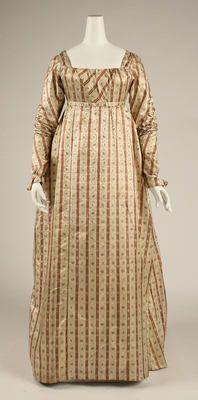 Silk striped regency dress gown
