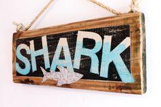 Shark Beach Sign on Reclaimed Distressed Wood Beach Art Decor Surf Shop Wooden Sign Coastal Beach Surf Baby Nursery Beach Themed Kids Room on Etsy, $45.00
