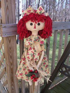 Folk PrimiTive SPRING Summer GruNgy CounTry CHERRY Dress Raggedy Ann Annie DOLL #NaivePrimitive #MelissaHarmon