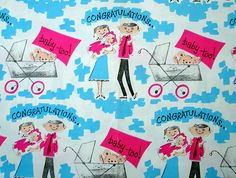 vintage wrapping paper - congratulations, new baby, via Flickr.