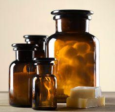 Amber Glass Pharmacy Bottles #RestorationHardware