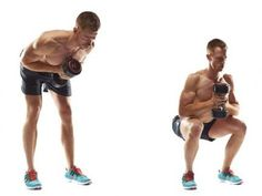 Dumbbell good morning to front squat We're kicking off with your legs and back: your body's biggest calorie burners. Hold a dumbbell as shown and bend at the hips; hold for 2sec. Return, then immediately squat; hold.  Too hard? Squat onto a bench.  Too easy?  Increase the weight, hold a dumbbell in each hand