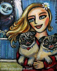 Pug Momma dog painting by Angie Ketelhut