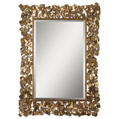 Uttermost Antiqued Gold Capulin Mirror, Antiqued Gold - Victorian -... ❤ liked on Polyvore featuring home, home decor, mirrors, antique gold wall mirror, victorian mirror, victorian wall mirror, victorian home decor and antique gold mirror