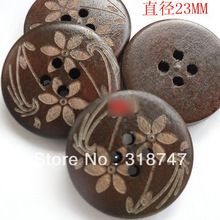 6 unids/24 unids 23mm 4-Holes DIY Circular Marcado Láser Botones De Madera Botón de Madera Ropa Accesorios 13012309(China (Mainland))