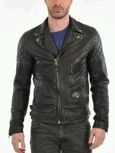 Men's Leather Jacket Handmade Black Motorcycle Solid Lambskin Leather Coat - M51…