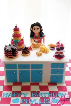 Looks like a busy (and delicious) kitchen cake ©Bella Cupcakes (Vanessa Iti)....CUTEST CAKE EVER !