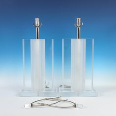 """Pair of 32"""" Vintage Lucite Lamps with Matching Finials - Free U.S. Shipping by ThePapers on Etsy"""