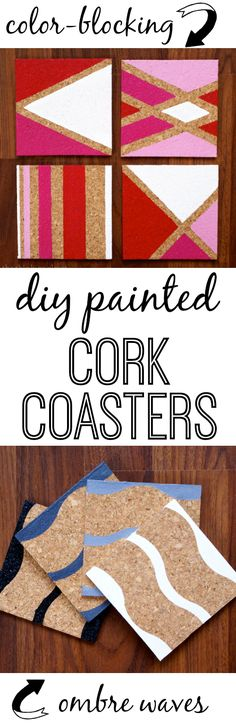 DIY Painted Cork Coasters | Such an easy and inexpensive gift idea: painted cork coasters! What if I told you that each set of 4 coasters cost me under $4 to make? Not too shabby for a DIY gift that doesn't look like it cost less than $4. Find the tutorial here!