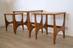 Mid Century Retro Danish Style Teak Stonehill Nest Of Tables photo 1