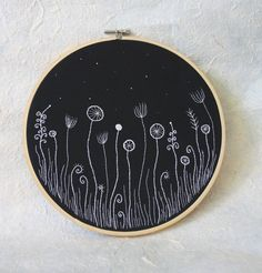 """Hand Embroidery Hoop Wall Art """"Flowers in the Night"""" - hand embroidered 9,4"""" wall hanging. $63.00, via Etsy."""