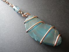 Blue Agate Slice Copper Wire Wrapped Rear View by CassieVision, $12.50