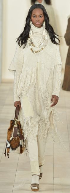 Ralph Lauren Collection Fall 2015: A cream cashmere patchwork poncho and spotted Ricky Bag
