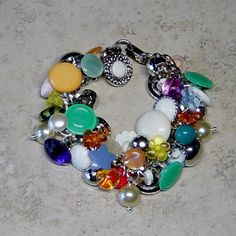 Multicolor Button Embellished Silver Chain by delaMarCollection