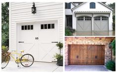 A whole bunch of front doors, patios, garage doors and potted flowers.