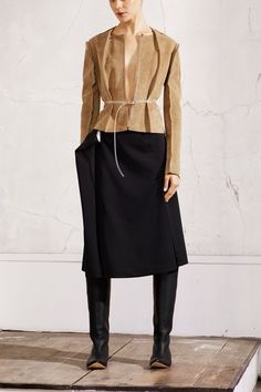 Maison Martin Margiela and H  Pattern-cut jacket, £149.99; oversized skirt, £59.99; knee-high boot with removed heel, £149.99
