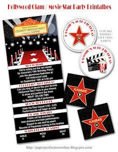 Hollywood Glam / Movie Star Party Printables