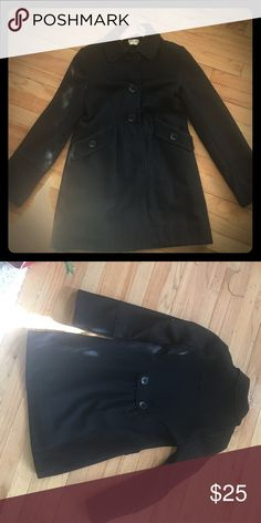 Black peacoat women's Three button, one snap peacoat, cinched in back a bit with two buttons, super cute, hardly worn Maurices Jackets & Coats Pea Coats