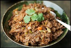 Machaca: Mexican shredded beef. Season and sear 3 lb boneless shoulder beef…