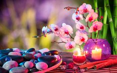 Download wallpapers 4k, SPA, orchids, candles, bamboo, plate, stones