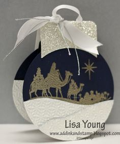 Gift Card Holder - Ornament by genesis - Cards and Paper Crafts at Splitcoaststampers - Glittery Wise Men Gift Card/Ornament…Lisa Young: Add Ink And Stamp – Cards and Paper Crafts at - Christmas Paper Crafts, Stampin Up Christmas, Christmas Cards To Make, Christmas Gift Tags, Xmas Cards, Handmade Christmas, Holiday Cards, Gift Cards, Wise Men Gifts