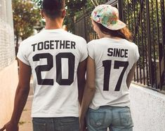 Together Since Couples Shirts Matching Tees for Couple, Matching Set Tshirts Couple Tees 2017 Set Clothing Gift Couples Tshirts Valentine's Cute Couple Hoodies, Couple Tees, Couple Tshirts, Matching Couple Outfits, Matching Couples, Matching Set, T-shirt King, Swimsuits For Teens, T Shirt Company