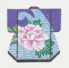 LEE Petite Kimono Blossom handpainted HP Needlepoint Canvas Ornament