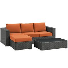 Modway Sojourn 3 Piece Outdoor Patio Sunbrella® Sectional Set
