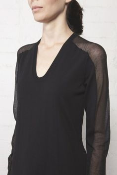 Black Sweater Dress with Sheer Tonal Sleeves