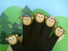 SONG Monkey Finger Puppets, Five Little Monkeys Song, Magnetic Glove Puppets Glove Puppets, Hand Puppets, Finger Puppets, Five Little Monkeys Song, Finger Plays, Finger Song, Monkey Puppet, Felt Templates, Animal Crafts