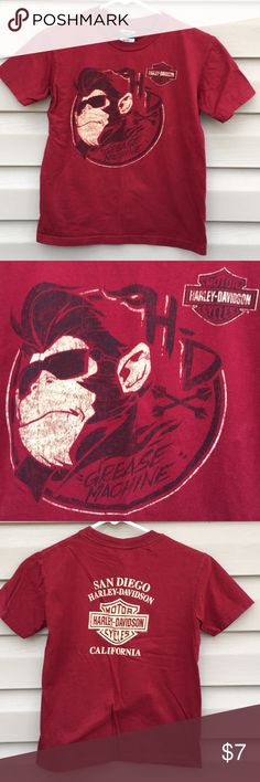 Harley Davidson boys red/black/tan tee shirt Nice red shirt with logo on front with picture of monkey and 'grease monkey' , on back logo in tan and 'SanDiego,Harley Davidson , California. 100% cotton, no snags, stains or holes Harley-Davidson Shirts & Tops Tees - Short Sleeve