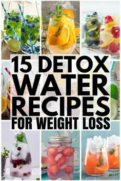 These water detox recipes help with digestion, bloating, and weight loss for that flat tummy you desire, and they help fight acne and blemishes too boot! Detox Diet Drinks, Detox Juice Recipes, Water Recipes, Detox Juices, Cleanse Recipes, Snacks Recipes, Weight Loss Meals, Weight Loss Detox, Lose Weight