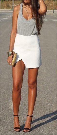 Cute summer fashion white mini skirt and grey top