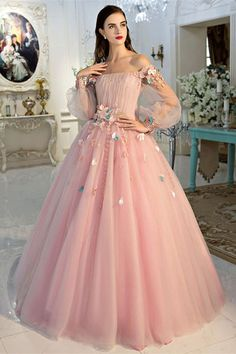 Simple Prom Dresses, chic a line pink prom dress off the shoulder tulle applique long sleeve evening dress party dress LBridal Elegant Bridesmaid Dresses, Pink Prom Dresses, Tulle Prom Dress, Pageant Dresses, Quinceanera Dresses, Homecoming Dresses, Pretty Dresses, Dress Party, Bridesmaid Gowns